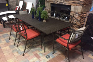 Windsor Cast Aluminum Rectangle Dining Table and 6 Chairs