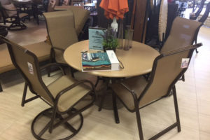48″ Round Faux Stone Table and 4 Sling Chairs