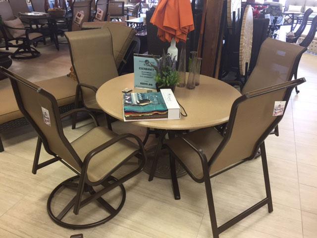 Round Faux Stone Table Set