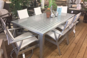 Trento 44×86 Aluminum Dining Table 2 Swivel Chairs and 4 Dining Chairs