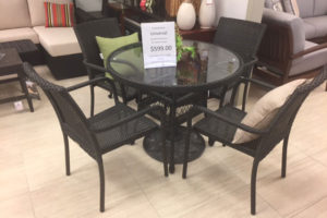 36″ rd Glass Table and 4 All Weather Wicker Chairs