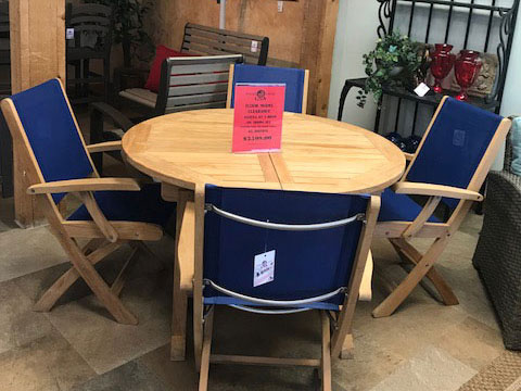 3 Birds 5pc. Teak Expandable Dining Table Set